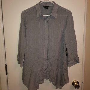 Navy & white stripe button down shirt